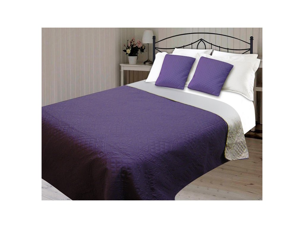 Přehoz na postel AMBER 220x240 cm fialová ESSEX