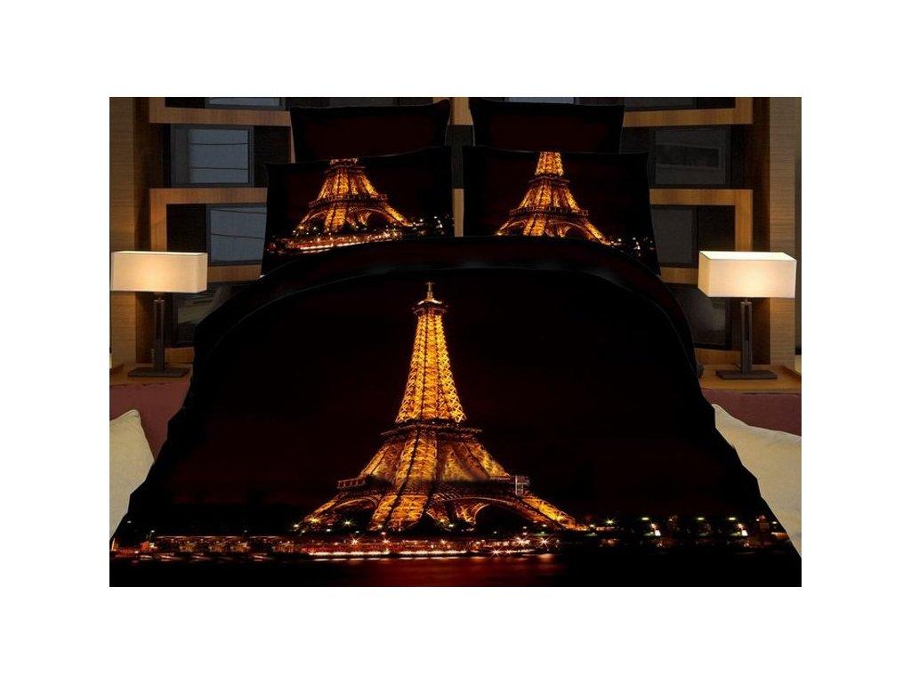 Povlečení EIFFEL IN NIGHT 3D francouzské povlečení, 1x 200x220 cm, 2x povlak 70x80 cm, MyBestHome