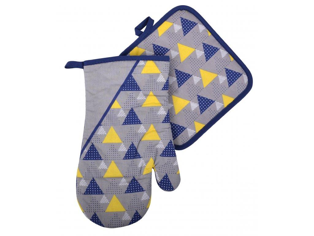 Kuchyňský set rukavice/chňapka BRAVE CHEF šedá, 18x30 cm/20X20 cm ESSEX, 100% bavlna