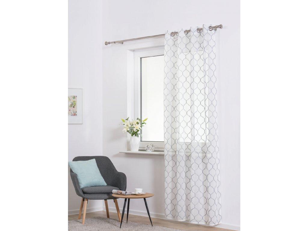 Dekorační luxusní záclona CASABLANCA bílá/šedá 140x250 cm MyBestHome