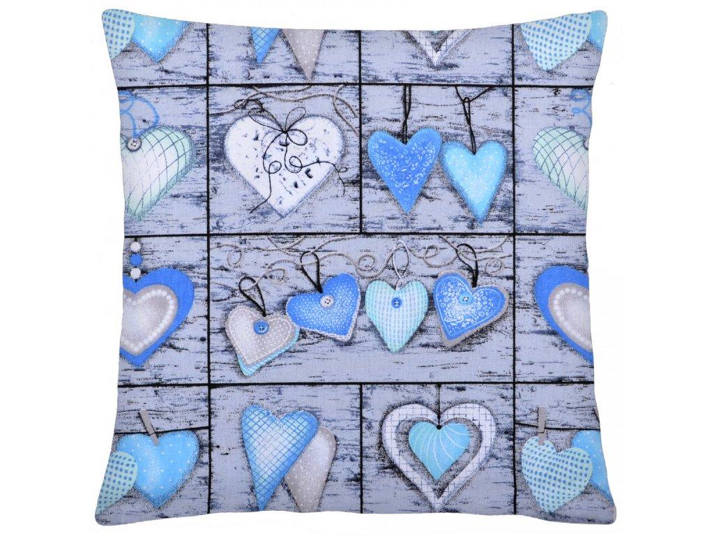 Bavlněný polštář BLU HEARTS 40x40 cm, Mybesthome