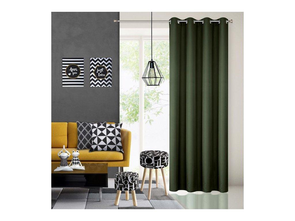 Dekorační závěs EASY TOP tmavá zelená 1x140x250 cm MyBestHome