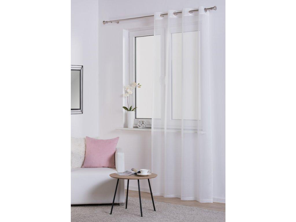 Dekorační záclona DIANA bílá s kroužky 140x245 cm MyBestHome