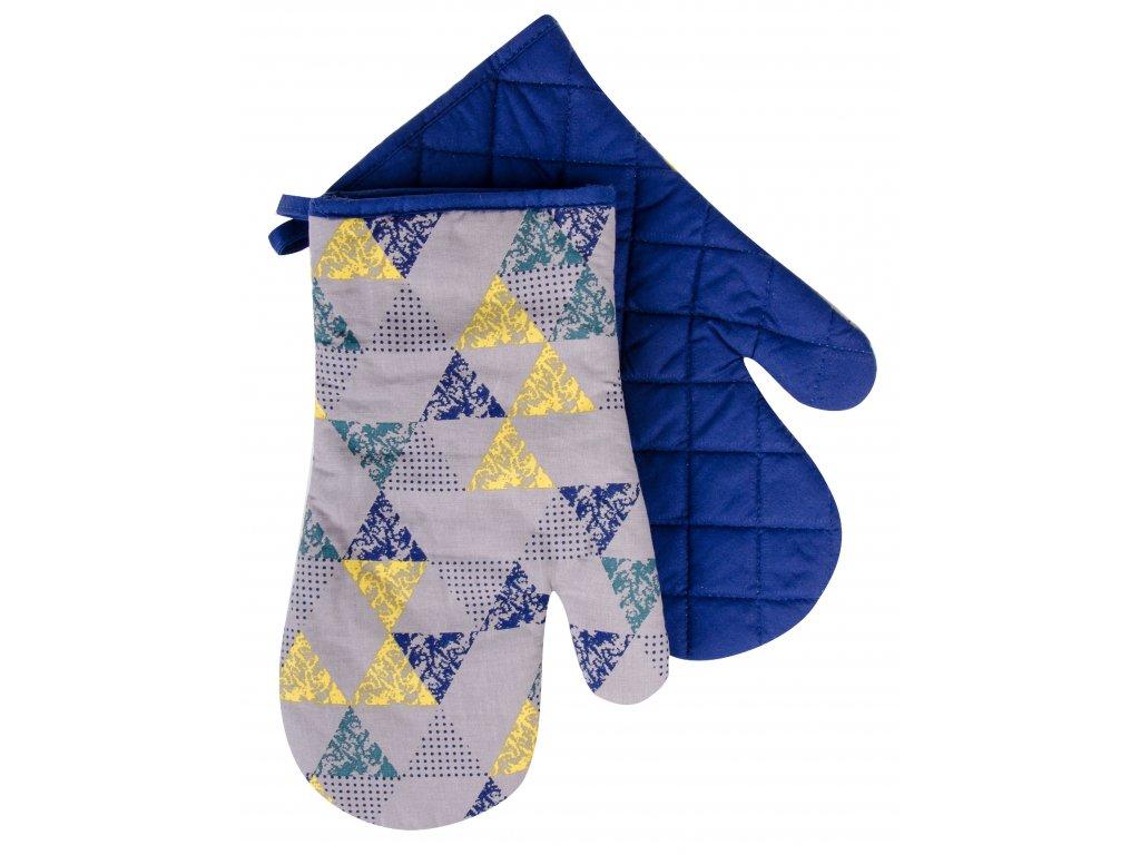 Kuchyňské bavlněné rukavice chňapky BRAVE CHEF, motiv A, žlutá 100% bavlna 19x30 cm Essex