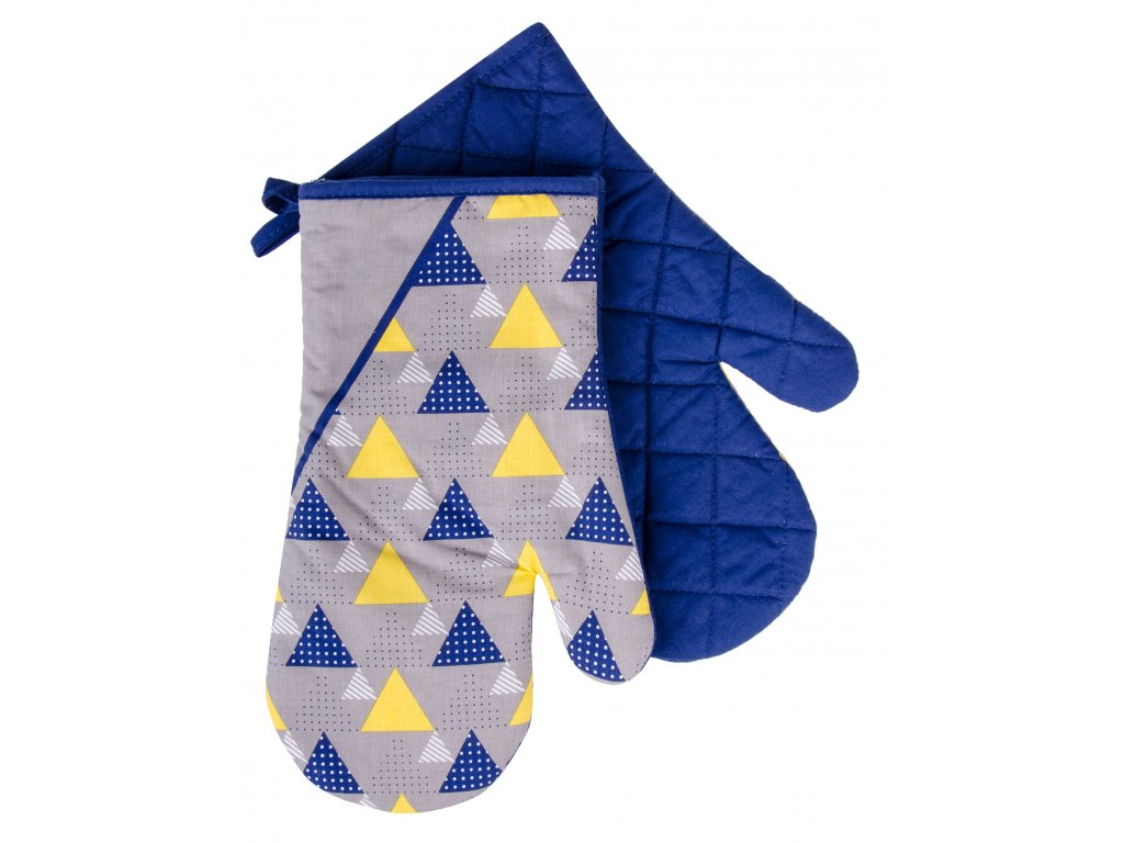 Kuchyňské bavlněné rukavice chňapky BRAVE CHEF, motiv C, modrá, 100% bavlna 19x30 cm Essex