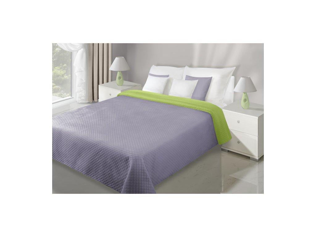 Přehoz na postel VELVET 220x240 cm zelená/lila Mybesthome