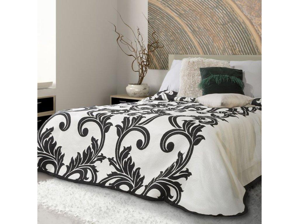 Přehoz na postel CLAUDIA 220x240 cm černá/krémová Mybesthome
