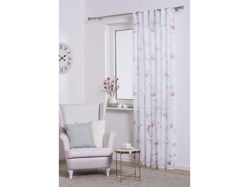 Dekorační vzorovaná záclona MAGNOLIA růžová 140x245 cm MyBestHome