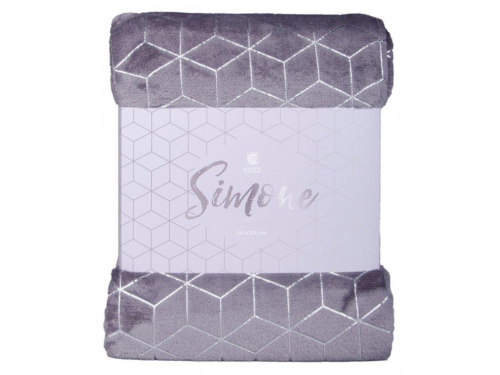 Deka z mikrovlákna SIMONE 150x200 cm tmavě šedá Essex