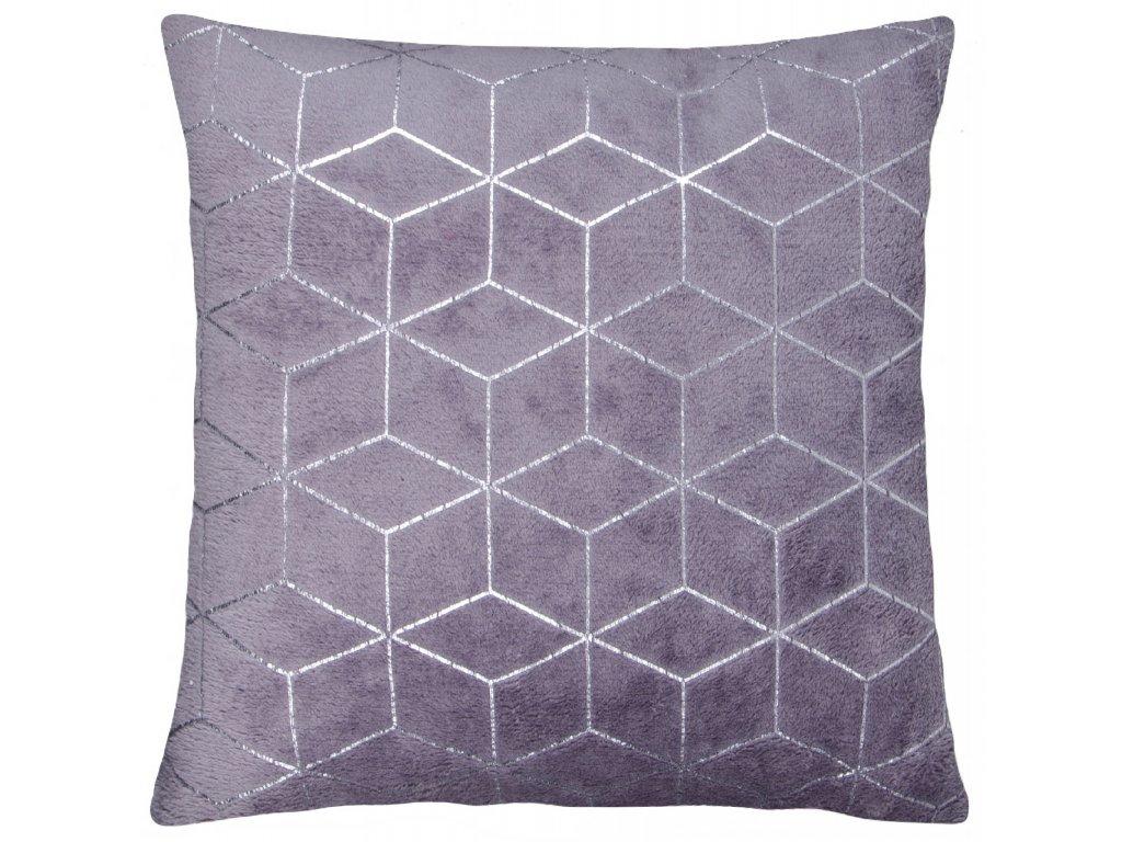 Polštář SIMONE mikrovlákno tmavě šedá Essex 40x40cm, geometrický vzor