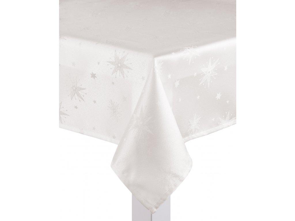 Ubrus CHRISTMAS DE LUXE, 150x220 cm, smetanová, motiv vánoční hvězdy, ESSEX