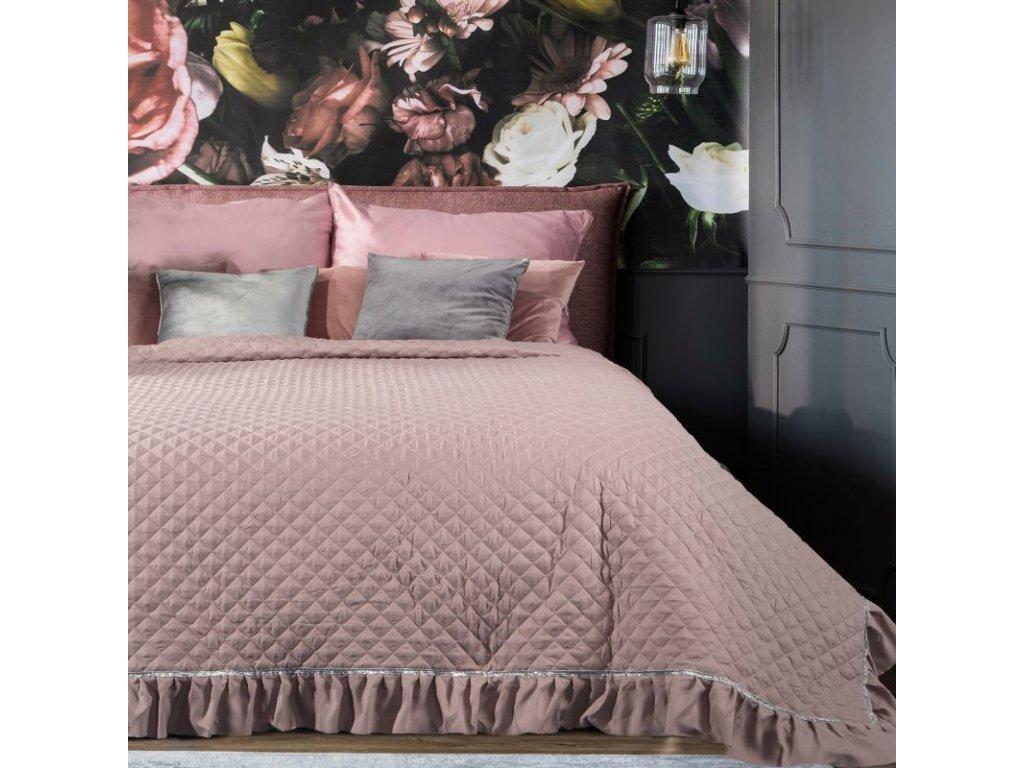 Přehoz na postel EWELYNA 220x240 cm pudrová Mybesthome
