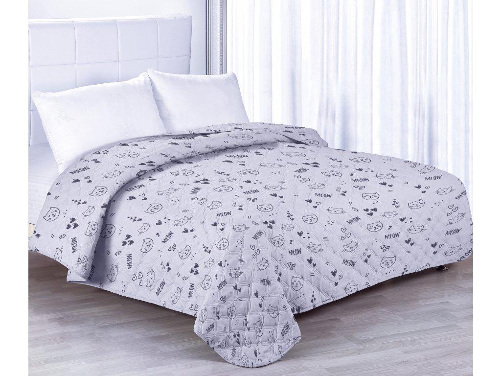 Přehoz na postel CAT světle šedá 200x220 cm Mybesthome