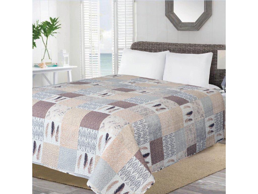 Přehoz na postel PATCHWORK NEW 200x220 cm béžová vzor patchwork ESSEX