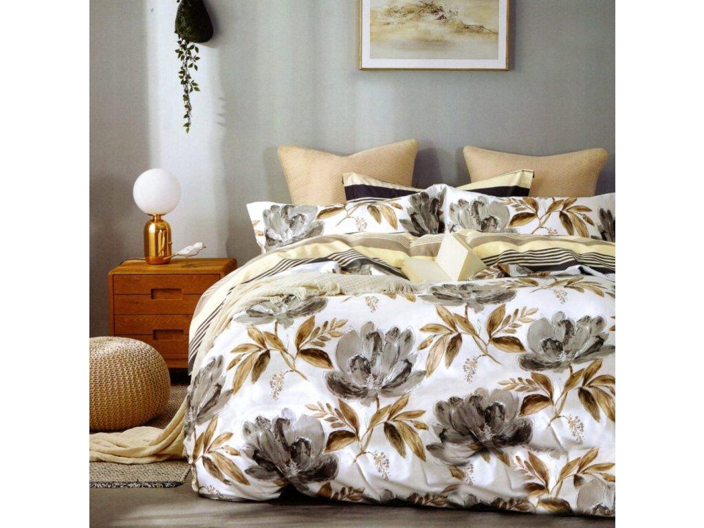 Povlečení EVANS 100% saténová bavlna 1x 200x220 cm, 2x povlak 70x80 cm francouzské povlečení MyBestHome