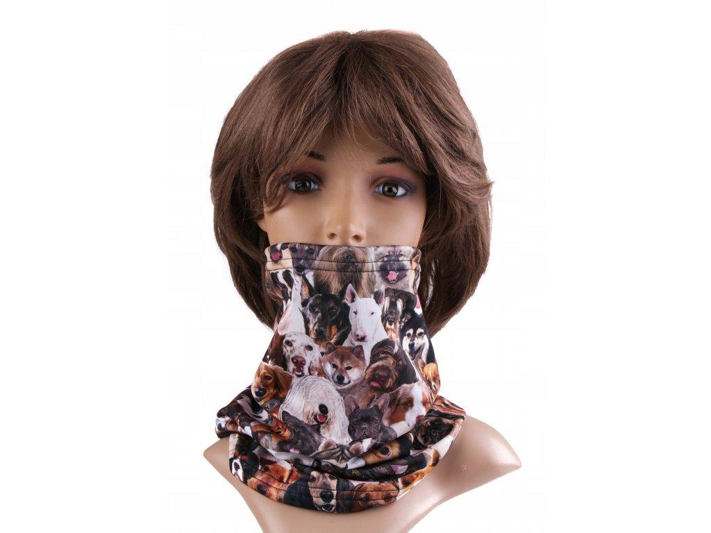 Multifunkční stylový šál - komín 22 - 31x26 cm, DOGS, Mybesthome