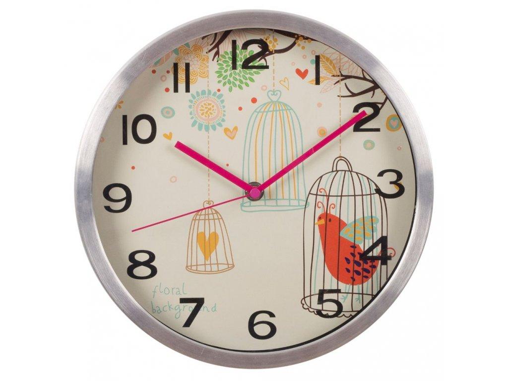 Nástěnné hodiny PTAČÍ KLEC bílá průměr 33,5 cm Mybesthome