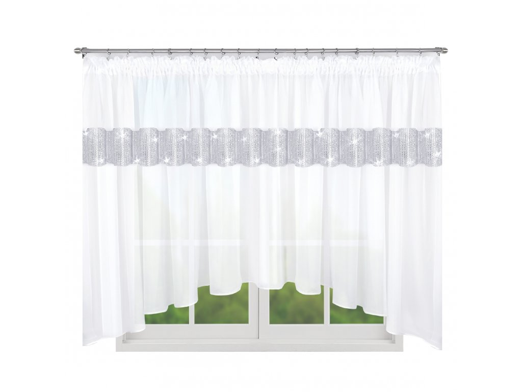 Dekorační krátká záclona se zirkony NICOLE bílá 300x155 cm nebo 400x155 cm MyBestHome