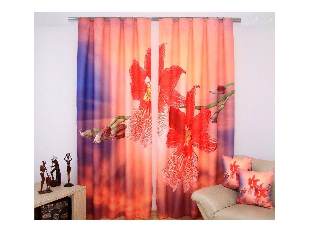 3D dekorační závěs 59 ČERVENÁ ORCHIDEJ 160x250 cm MyBestHome