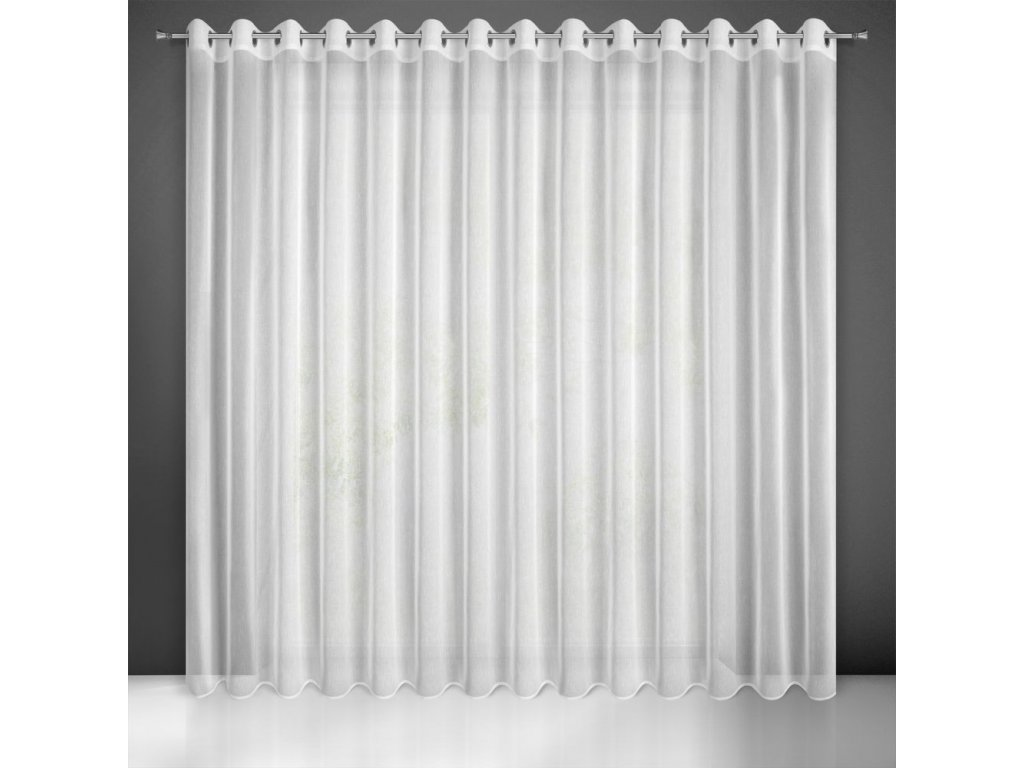 Dekorační dlouhá záclona s jemnou strukturou s kroužky SUZIE bílá 300x250 cm (cena za 1 kus) MyBestHome