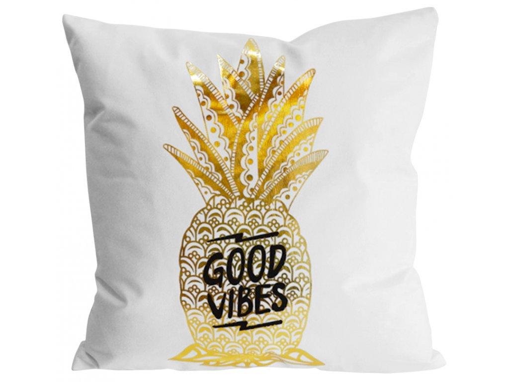 Polštář GOLD SHINE vzor ananas 45x45 cm Essex