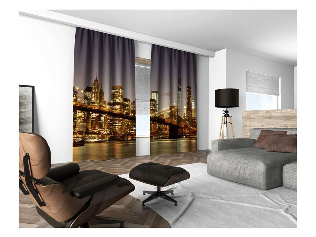 3D dekorační závěs 103V NIGHT CITY 160x250 cm set 2 kusy MyBestHome