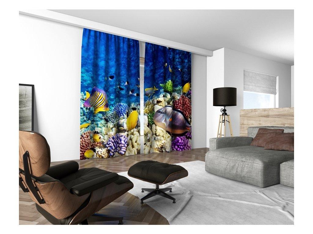 3D dekorační závěs 125V CORAL SEE 160x250 cm set 2 kusy MyBestHome