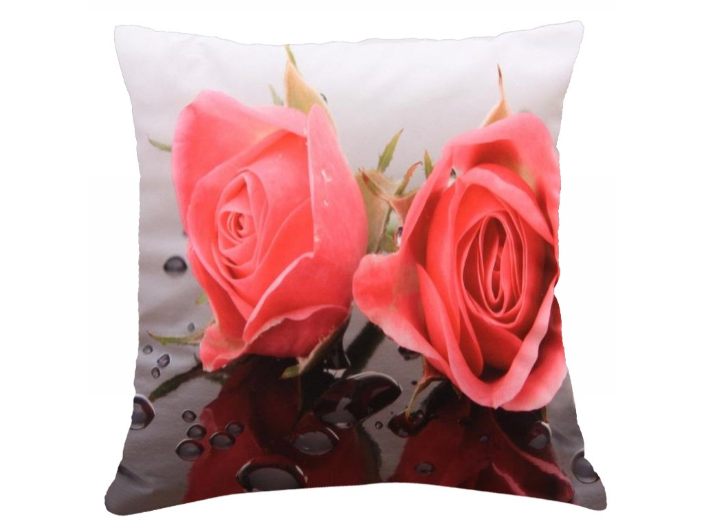Polštář RŮŽE MyBestHome 40x40cm fototisk 3D motiv růže