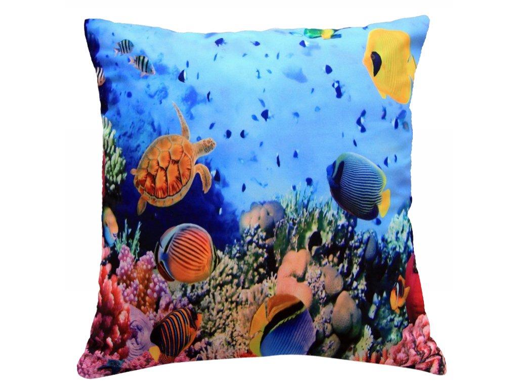 Polštář OCEÁN MyBestHome 40x40cm fototisk 3D motiv korálového útesu