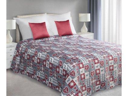Přehoz na postel ARVI 220x240 cm vínová/stříbrná Mybesthome
