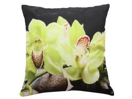 Polštář ZELENÁ ORCHIDEJ 40x40cm fototisk 3D motiv s orchidejí MyBestHome