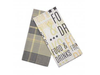 Utěrky FOOD AND DRINKS, 2 KUSY, 100% bavlna, šedá, 45x65 cm Essex
