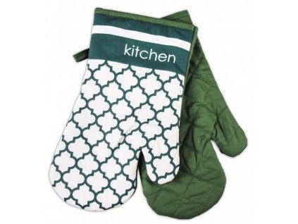 Kuchyňské bavlněné rukavice chňapky MAROKO, zelená, 100% bavlna 18x30 cm Essex