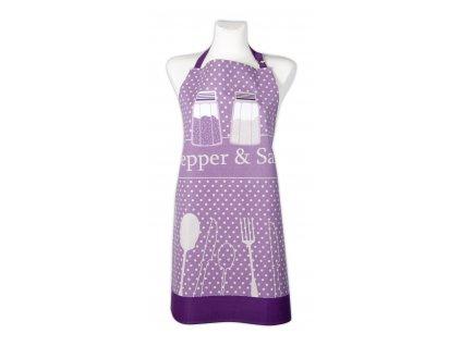 Kuchyňská bavlněná zástěra PEPŘ a SŮL, fialová, Essex, 100% bavlna