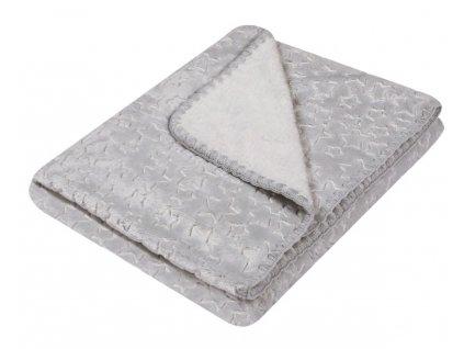 Dětská deka s hvězdičkami SURI stříbrná 80x90 cm Mybesthome
