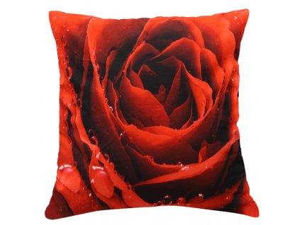 Polštář ČERVENÁ RŮŽE MyBestHome 40x40cm fototisk 3D motiv červená růže