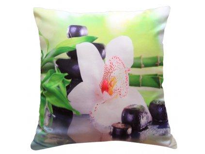 Polštář BÍLÁ ORCHIDEJ S BAMBUSEM MyBestHome 40x40cm fototisk 3D motiv bílá orchidej s bambusem
