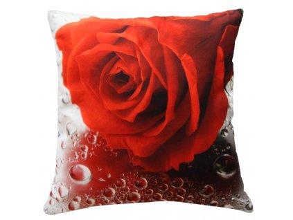 Polštář ČERVENÁ RŮŽE S KAPKAMI MyBestHome 40x40cm fototisk 3D motiv červená růže s kapkami