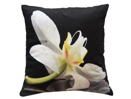 Polštář BÍLÁ ORCHIDEJ  40x40cm fototisk 3D motiv s bílou orchidejí MyBestHome