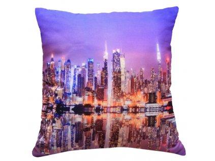 Polštář CITY LIGHT MyBestHome 40x40cm fototisk 3D motiv nočního velkoměsta