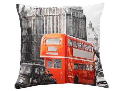 Polštář RED BUS MyBestHome 40x40cm fototisk 3D motiv červeného autobusu