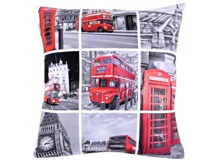 Polštář DOUBLE DECKER MyBestHome 40x40cm fototisk 3D motiv dvoupatrového červeného autobusu