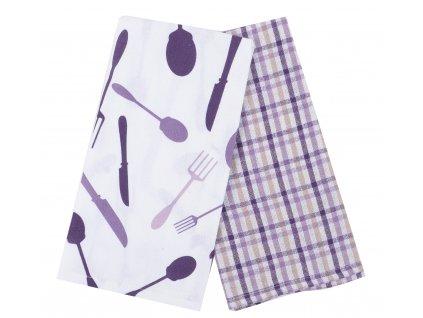 Utěrka PEPŘ A SŮL, 2 kusy 100% bavlna, fialová, 45x65 cm Essex
