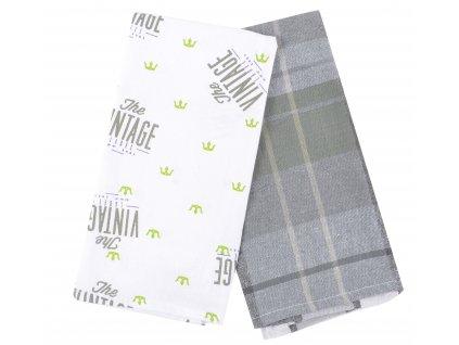 Utěrka VINTAGE 100% bavlna, 2 kusy, fialová, 45x65 cm Essex