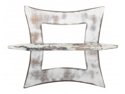 Dekorační ozdobná spona na záclony z přírodního dřeva ARUN, bílá 12x12 cm Mybesthome