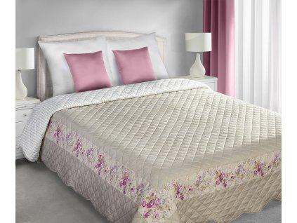 Přehoz na postel GRÁCIE 220x240 cm béžová/růžová patchwork Mybesthome