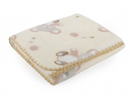 Dětská deka s medvídky DORA smetanová 80x90 cm Mybesthome