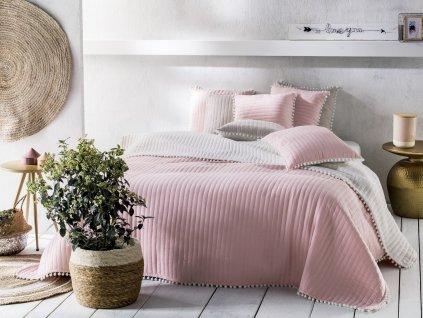 Přehoz na postel HARMONIA 220x240 cm růžová Mybesthome