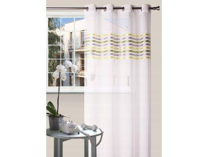Dekorační vzorovaná záclona FRESH žlutá/zelená/šedá 140x250 cm MyBestHome