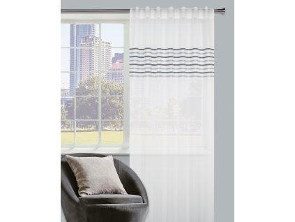Dekorační záclona PURO tmavě šedé pruhy 140x245 cm MyBestHome